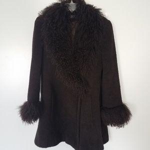 Searle Wool Boucle Mongolian Fur Trim Coat